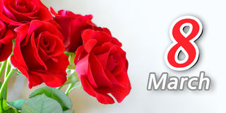 Bouquet of Beautiful Red Roses on Light Background. Greeting Card for Women's Day 8 March Stock Images