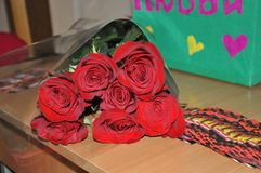 bouquet of beautiful roses for Valentine& x27;s day stock photos