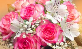 A bouquet of beautiful wedding flowers, pink roses. close up.  Royalty Free Stock Images