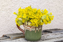 Bouquet of beautiful wild primroses flowers in a vintage clay cup. Beautiful bouquet of  yellow evening primroses Stock Images