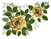Bouquet of beautiful yellow roses and leaves. Floral arrangement for decoration, perfect for wedding invitation, birthday, stock photo