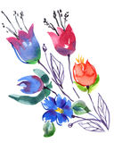 Bouquet bell flowers watercolor Royalty Free Stock Image