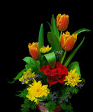 Bouquet on black background closeup Royalty Free Stock Images