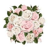 Bouquet blanc et rose de roses Photo stock