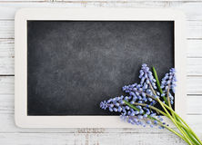Bouquet with blank blackboard Royalty Free Stock Photo