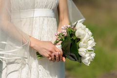 Bouquet and blooming sprig of apple in hands Stock Images