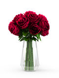 Bouquet of blossoming dark red roses in transparent vase. On white background. 3D Rendering, 3D Illustration Royalty Free Stock Images