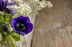 Bouquet of blue anemones Royalty Free Stock Photo