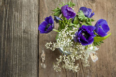 Bouquet of blue anemones Royalty Free Stock Images
