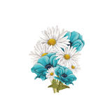 Bouquet of blue anemones and chamomile Stock Images