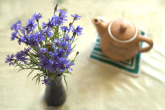 Bouquet of blue cornflowers in vase and a kettle. Bouquet of blue cornflowers in vase and tea kettle Stock Image