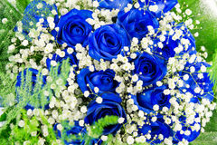 Bouquet of blue flowers- roses Royalty Free Stock Photo