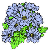 A bouquet of blue flowers on a white background. Illustration a bouquet of blue flowers on a white background Royalty Free Stock Images