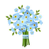 Bouquet of blue forget-me-not flowers. Vector illustration. Stock Image