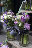 Bouquet of blue hyacinth in vase of glass. Stock Images
