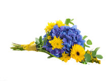 Bouquet from blue hydrangeas and yellow asters Stock Photos