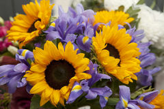 The Bouquet of blue irises and sunflowers for the bride Royalty Free Stock Images