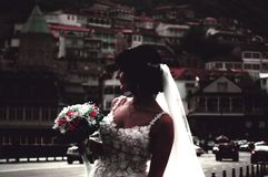 Bouquet, Bride, Buildings Royalty Free Stock Image