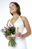bouquet bride glass holding portrait wine Στοκ φωτογραφίες με δικαίωμα ελεύθερης χρήσης