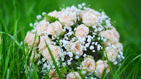 Bouquet of a bride of pink roses lies on the grass in the park.  stock video footage