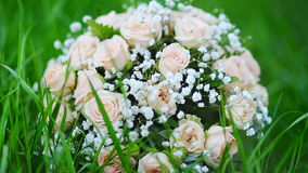 Bouquet of a bride of pink roses lies on the grass in the park.  stock footage