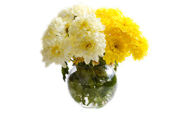Bouquet of bright flowers in glass vase Royalty Free Stock Photos
