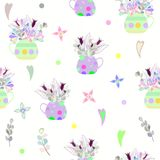 Bouquet of bright multicolored flowers in a polka dot vase and hearts. seamless pattern royalty free illustration