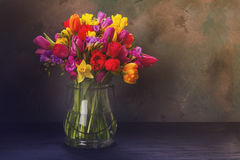 Bouquet of bright spring flowers Stock Photo