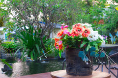 Bouquet of bright wildflowers in flowerpot Stock Images