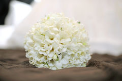 Bouquet on Brown Coverlet Royalty Free Stock Images