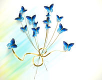 Bouquet of butterflies on white background. Many blue butterflies, on white background Vector Illustration