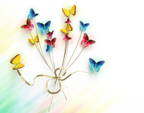 Bouquet of butterflies on white background. Many blue, yellow and red butterflies, on white background Vector Illustration