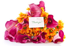 Bouquet of calla lilies and orange chrysanthemums Stock Photography