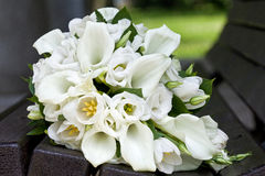 Bouquet of calla lilies and tulips flowers for the wedding ceremony Stock Photos