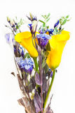 Bouquet from Calla lily, blue Lisianthus flowers Royalty Free Stock Photos