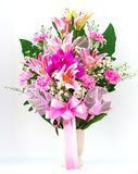 Bouquet of canation lily and orchid. In a vase Stock Images