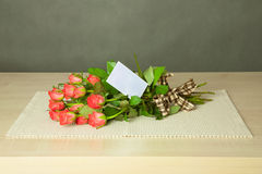Bouquet with card Royalty Free Stock Image