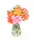 Bouquet of carnation in a glass bottle Stock Image