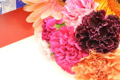 Bouquet of carnation and transvaal daisy with gift box Royalty Free Stock Photos