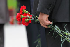 Bouquet of carnations in man hand at Victory Day Royalty Free Stock Photography