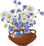 Bouquet of chamomile flowers and Campanula bell Royalty Free Stock Photography