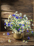 Bouquet of chamomiles and cornflowers Stock Photos