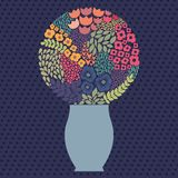 Bouquet with cheerful stylized flowers. Vector floral elements for design Stock Images