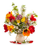 Bouquet of cherry blossoms and tulips isolated on white Stock Photo