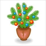 Bouquet of Christmas tree branches. Traditional symbol of the New Year. Creates a festive mood. Decorated with bright toys, balls stock illustration