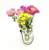 Bouquet of chrysanthemum in a glass bottle Stock Photo