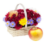 Bouquet of chrysanthemums and apple Royalty Free Stock Photography