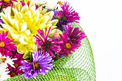 Bouquet with chrysanthemums and asters on a white background clo Royalty Free Stock Image