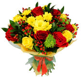 Bouquet of chrysanthemums and red rose. Bouquet of chrysanthemums, red rose and hypericum Stock Image