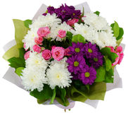 Bouquet of chrysanthemums and roses bush Royalty Free Stock Images